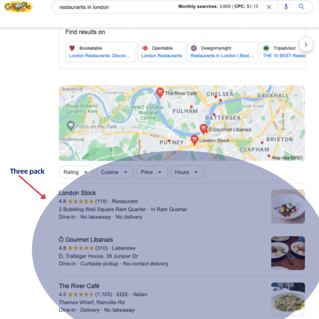 three pack local seo example